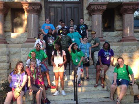 Group of participants on the Denton courthouse steps.
