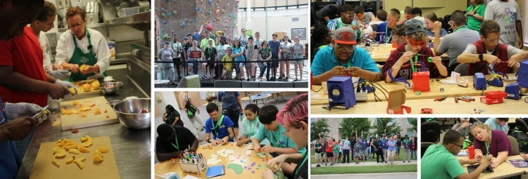 Image collage of summer program students learning to cook, craft, solder, and posing for group photos