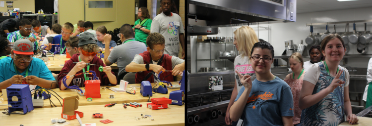 Image of summer camp students soldering and in a kitchen