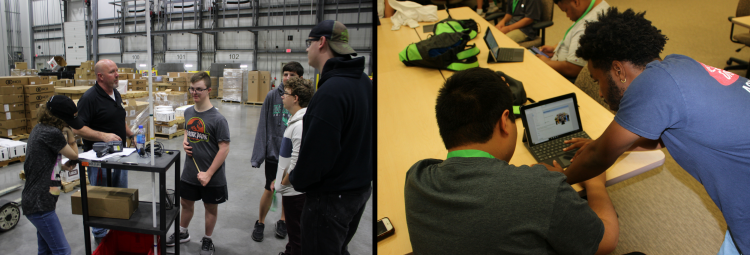 Image of summer program students learning about work in a warehouse and receiving individual instruction
